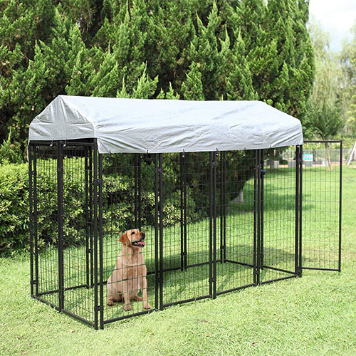 JAXPETY Uptown Welded Wire Kennel with Roof