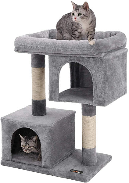 FEANDREA Cat Tree for Large Cats with Two Plush Condos