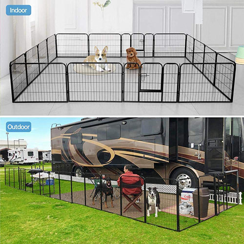 Yaheetech Heavy-Duty Foldable Metal Exercise Kennel