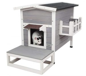 Petsfit Weatherproof Outdoor Cat Condo with Stairs