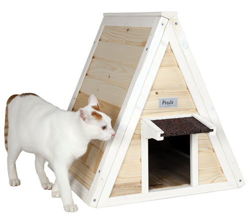 Petsfit Outdoor Triangle Cat House with Escape Door for All Cats