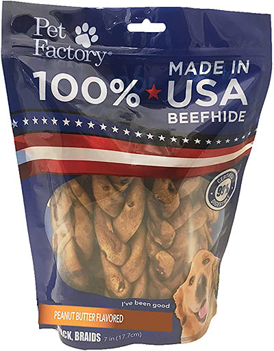 Pet Factory 100% Braided Beefhide in Peanut Butter Flavor