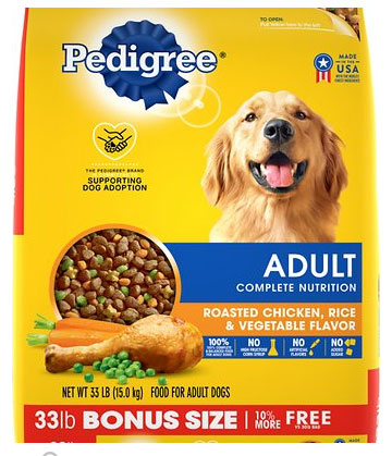 Pedigree Adult Complete Nutrition Dry Dog Food, Roasted Chicken, Rice, & Vegetables